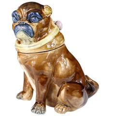 English Majolica Pug Dog Tobacco Jar, circa 1870
