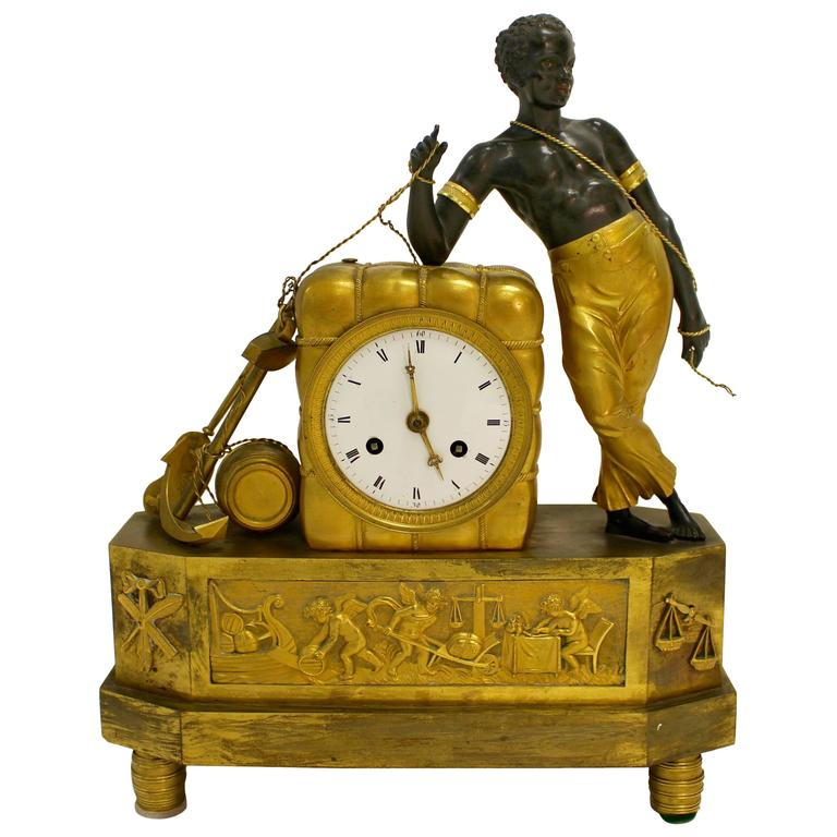 Empire Ormolu and Painted Bronze Mantel Clock