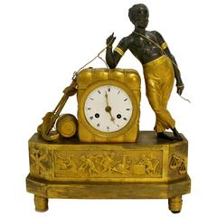 Empire 19th Century Ormolu and Painted Bronze Mantel Clock with Young Sailor