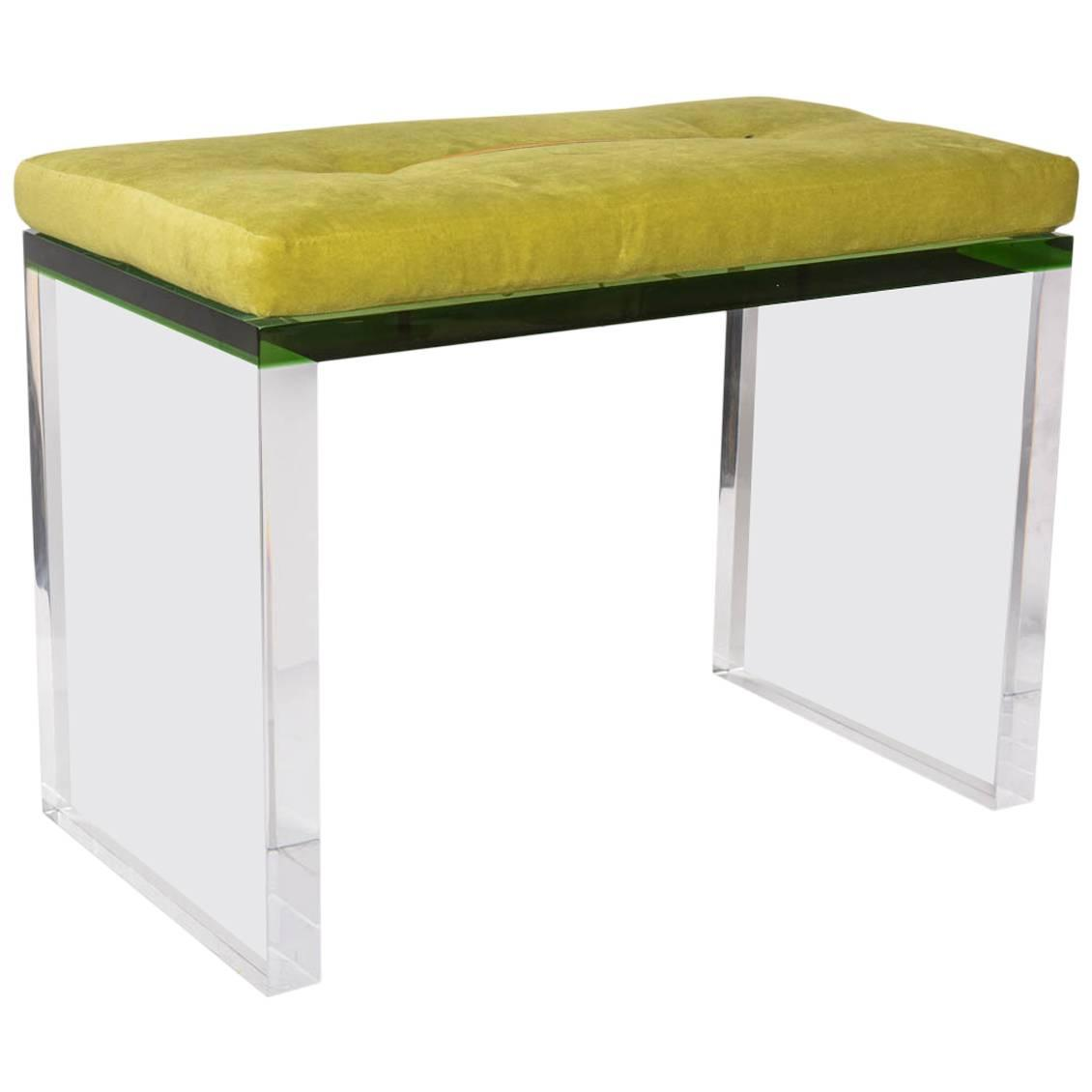 Modern Green And Clear Lucite Bench For Sale At 1stdibs