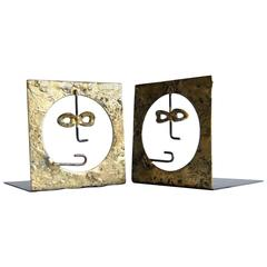 Pair of Mid Century Brutalist  Bookends