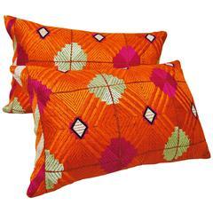 Phulkari Bagh Silk Embroidered Vintage Wedding Shawl Pillow, Punjab, India
