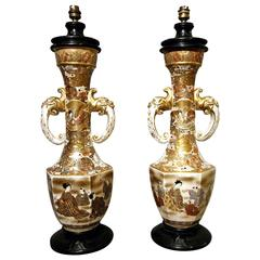 Rare Pair of Satsuma Table Lamps, Japan End of the 19th Century