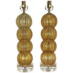 Pair of Murano Italian Amber Gold Stacked Ball Lamps