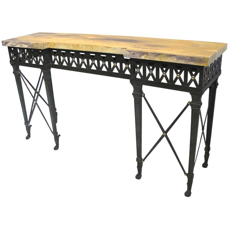 Neoclassical Style Bronze and Iron Console Table