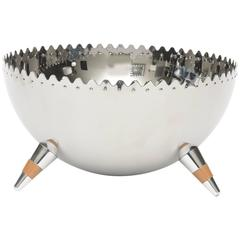 Italian Sculptural Stainless Steel Polished Serving/Fruit Bowl with Tripod Legs