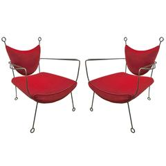 Jean Royère Documented Pair of Black Wrought Iron Lounge Chairs Model Yo-Yo