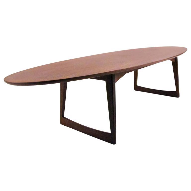 Danish walnut surfboard coffee table at 1stdibs for Surfboard coffee table