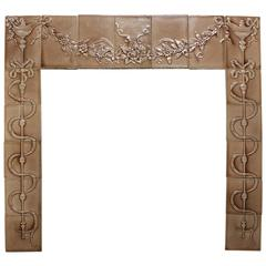 Early 20th Century Glazed Porcelain Tile Fire Place Surround