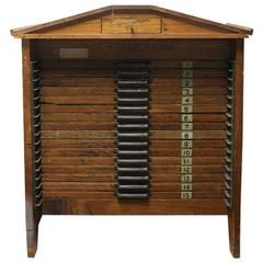 Unusual Printers Wood Table/Cabinet by Hamilton