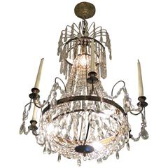 Elegant Swedish Empire Crystal and Bronze Decorative Chandelier
