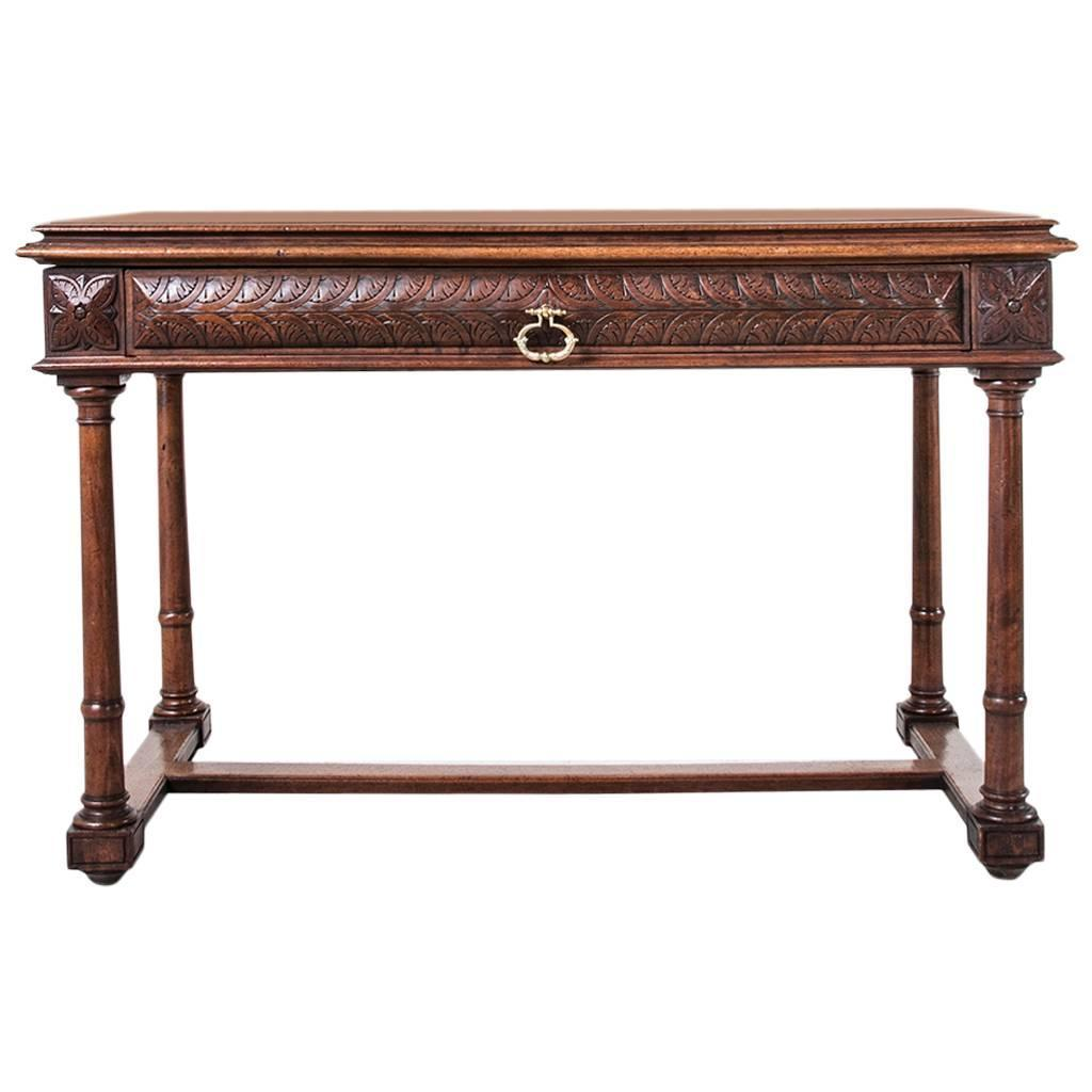 19th century french hand carved walnut henri ii desk sofa table or console at 1stdibs. Black Bedroom Furniture Sets. Home Design Ideas