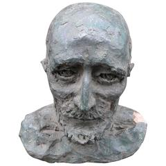 20th Century Clay Bust of a Mustached Man