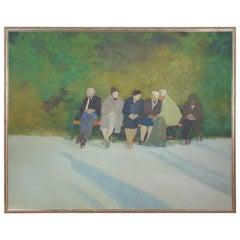 Acrylic on Canvas Painting of a Park Scene