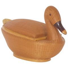 Delightful Mid Century Wicker Swan Basket