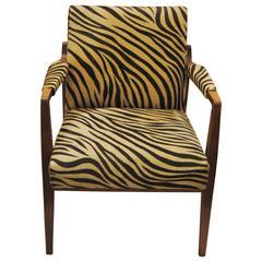 Vintage Danish Modern Walnut Chair Upholstered in Edelman Zebra Cowhide