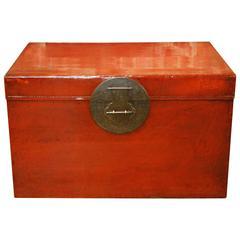 Antique Red Lacquer Leather Kimono Trunk