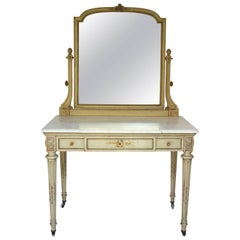 19th Century Paint Decorated Louis XVI Style Vanity