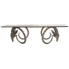 Coffee Table Having Nickel Ram's Head With Glass Top