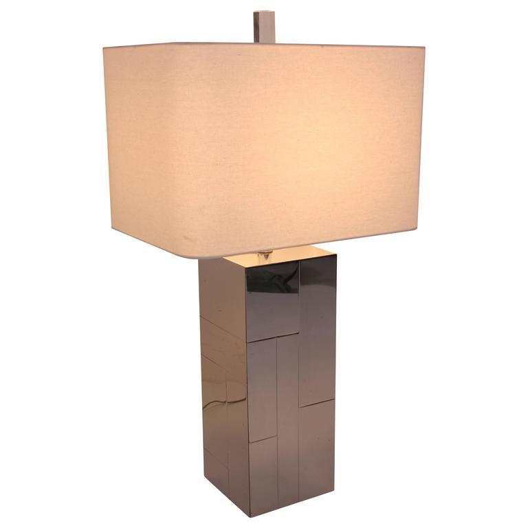 Paul Evans Chrome Brutalist Cityscape Table Lamp