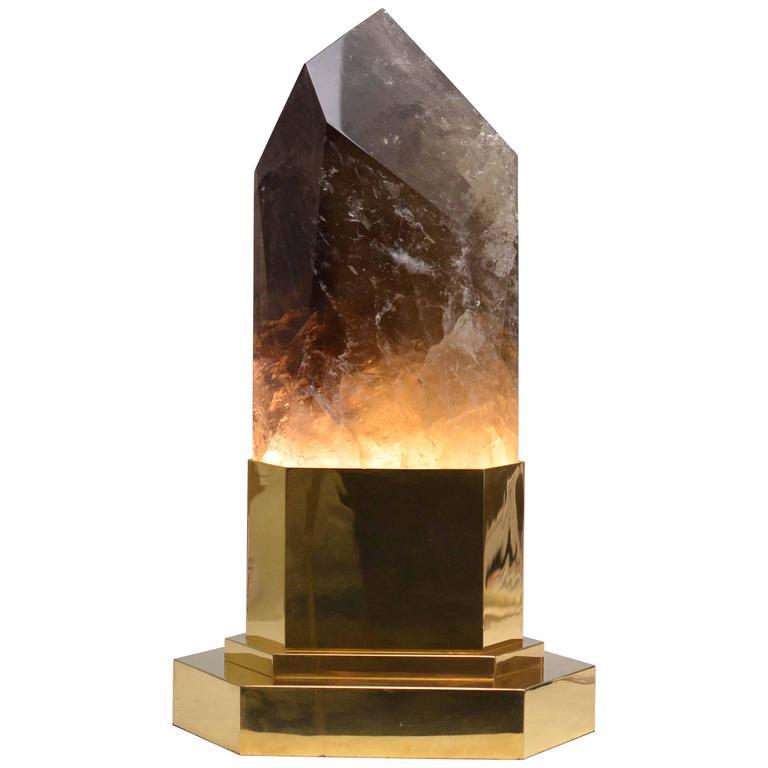 Smoky Brown Crystal Obelisk Light For Sale At 1stdibs