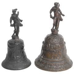 Two Venetian Bronze Hand Bells with the God Mercury, 16th Century