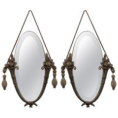Antique Pair of Art Nouveau Hanging Mirrors