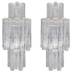Pair of Monumental Tronchi Sconces by Venini for Camer