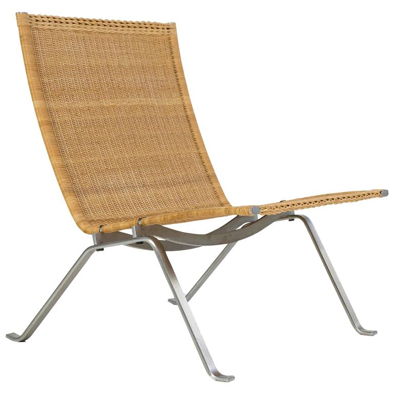 Exceptionnel Poul Kjærholm Pk22 Wicker Chair, E. Kold Christensen For Sale