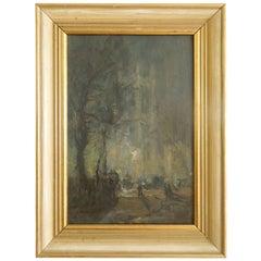 W. Heath Wilson British Painting Early 1900s London Evening Scene