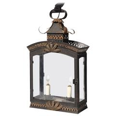 Charming Two-Light Tole Painted and Gilded Lantern