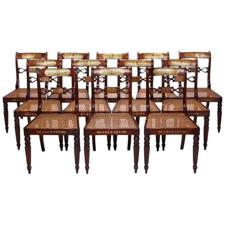 Set Of Twelve Regency Period Rosewood And Faux Rosewood Dining Chairs At 1stdibs