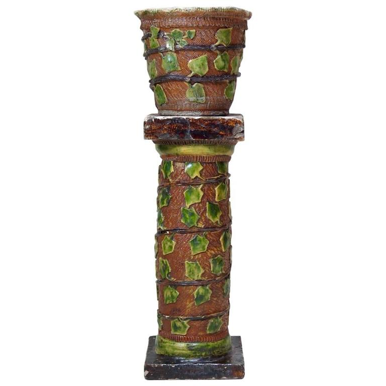 Ivy-Motif Folk Art Pottery Garden Column & Planter - France, Early 20th Century