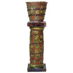 Ivy-Motif Folk Art Pottery Garden Column & Planter - France, Early 20th Century