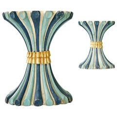 Pair of Madeleine Castaing Polychrome Pedestal Tables