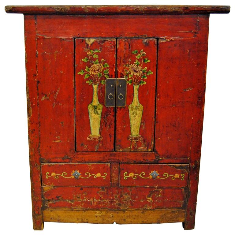 Antique red chinese tall cabinet gansu province circa for Chinese art furniture