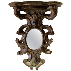 Petite French Baroque Style 1885s Silvered Wood Wall Bracket with Oval Mirror