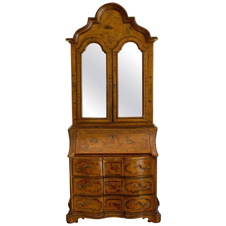Italian 18th Century Rococo Secretary with Mirrored Doors and Lacca Povera Décor