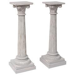 Pair of Painted Gustavian Style Pedestals in the Louis XVI Taste