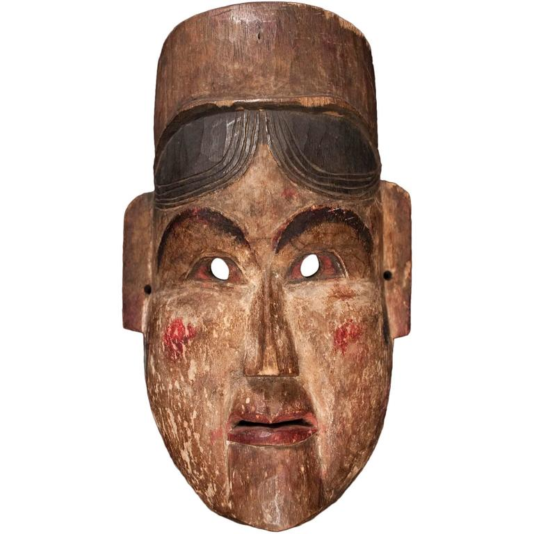 Late 19th-Early 20th Century Wood Theater Mask from Nepal