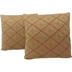 Pair of Brown African Embroidery Pillows