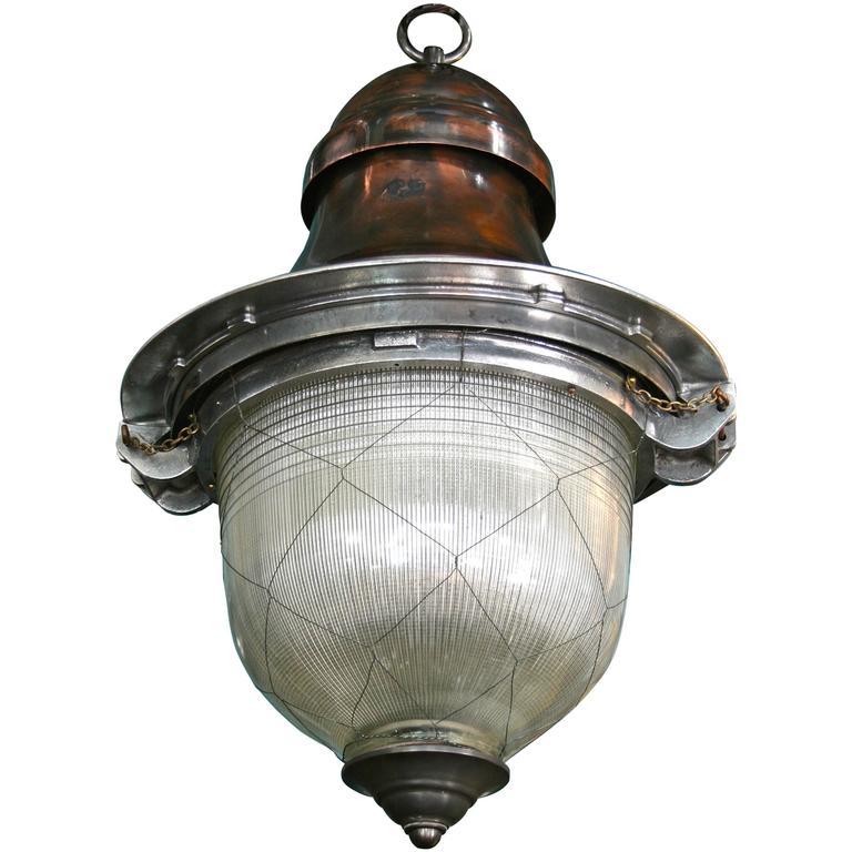 Impressive French Pendant Lanterns with original netted holophane glass 1
