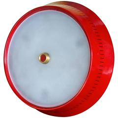 Large Stilnovo red flush mount light fixture