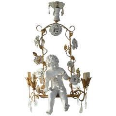 French Huge Porcelain Cherub Swinging Roses Chandelier, circa 1940