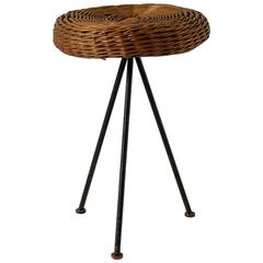 Norman Cherner Iron with Rattan Stool for Konwiser, USA, 1950s