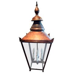 Large Electrified English Copper Street Lantern