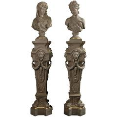 Pair of Cast Iron Busts and Pedestals, circa 1900