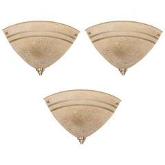 Set of Three Art Deco Machine Age Corner Sconces in Textured Bakelite and Brass