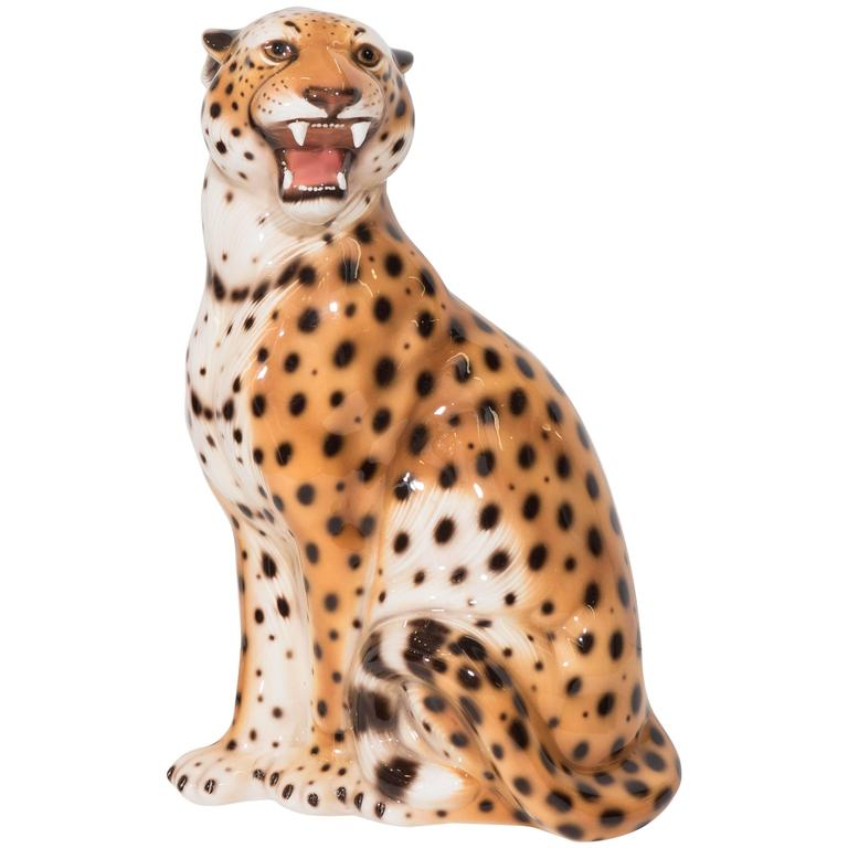 Italian midcentury ceramic leopard sculpture at 1stdibs - Cheetah statues ...