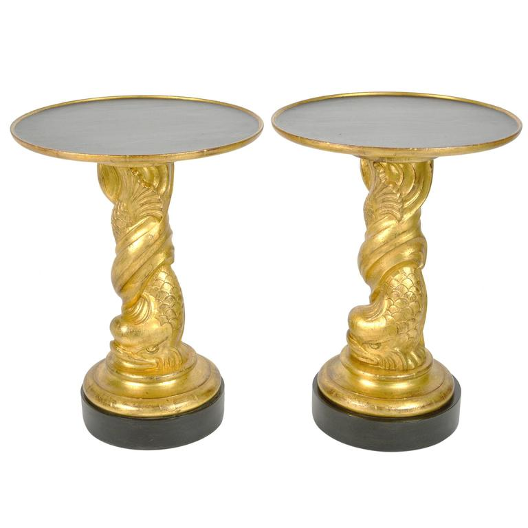 Hollywood Regency Style Pair of Carved Giltwood Side Tables For Sale